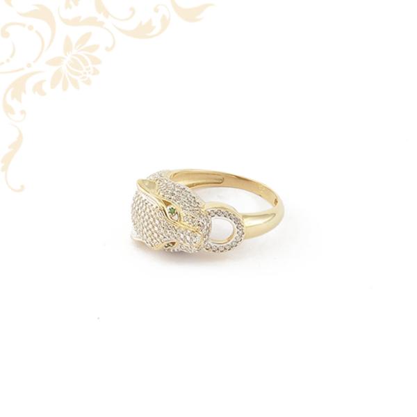 Tigris fejű cirkónia köves női arany gyűrű