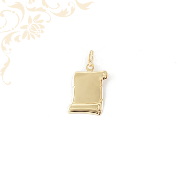 Pergamen formájú arany lapmedál.