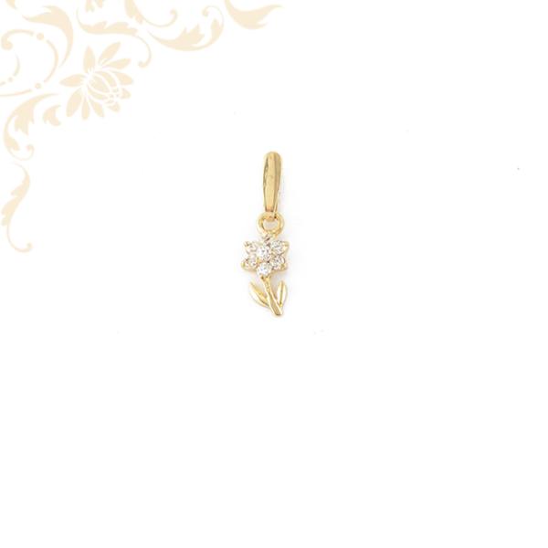 Virág formájú köves arany medál