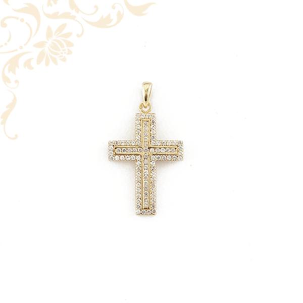 Cirkónia köves arany kereszt medál