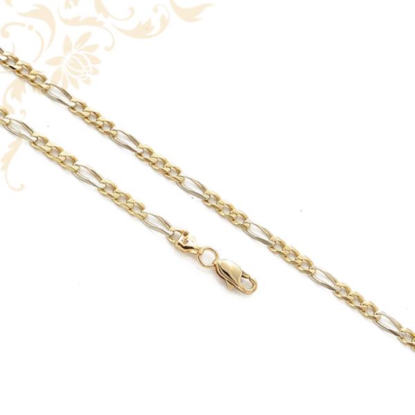 3+1 szemes Figaro fazonú arany nyaklánc sárga és fehéraranyból.
