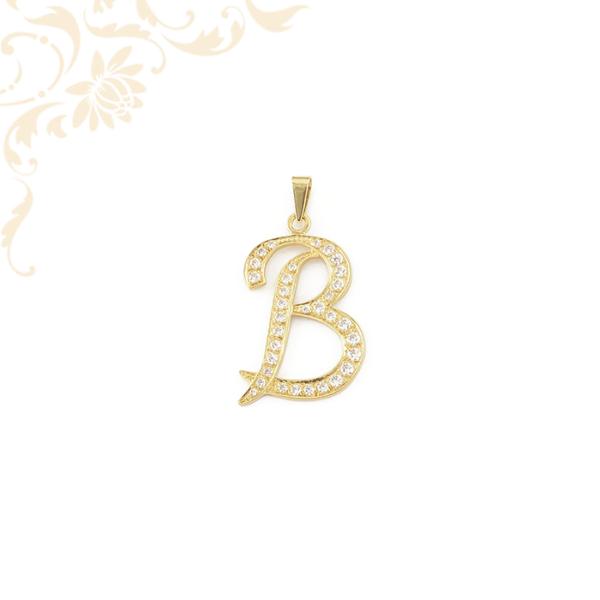 B betű medál cirkónia kövekkel díszítve