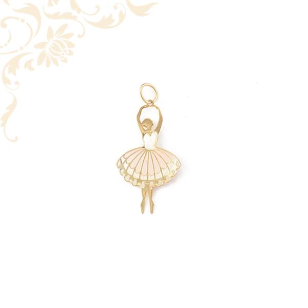 Kis súlyú,mindkét oldalán színes lakkfestéssel díszített arany balerina lapmedál.