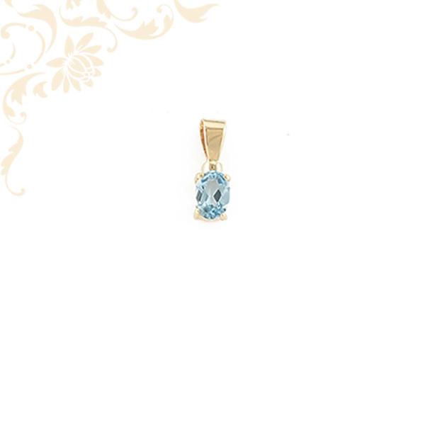 Kék színű szintetikus kővel ékesített, köves arany medál