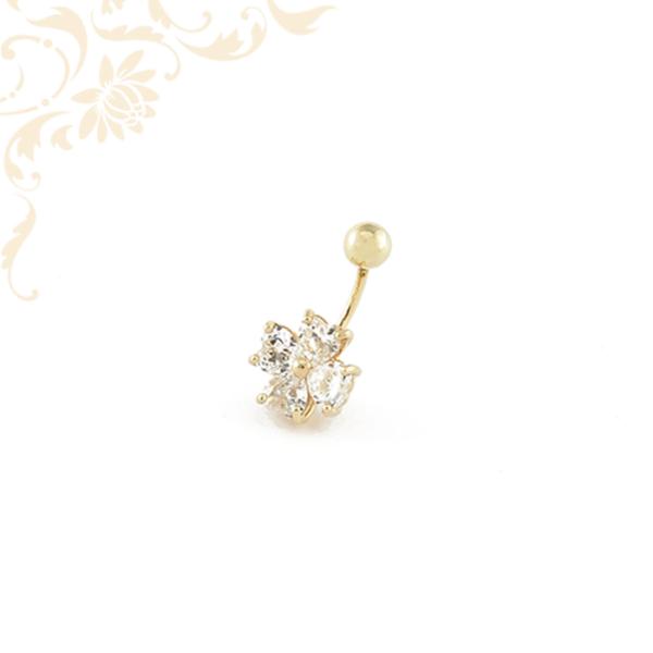 Női arany köldök piercing szív alakú szintetikus kövekkel ékesítve