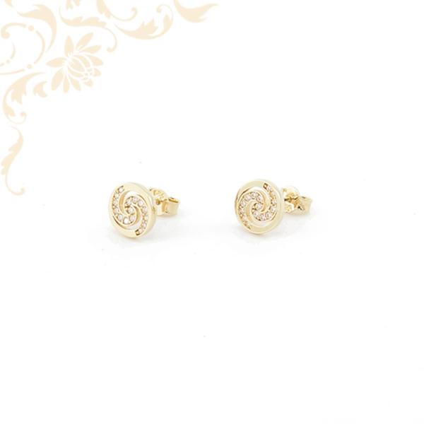 Kör alakú, cirkónia köves arany fülbevaló.