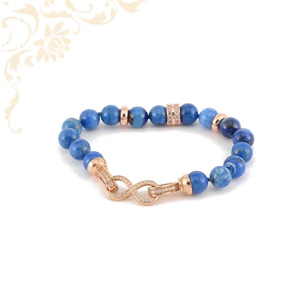 Lapis Lazuli ásványköves női karkötő, ezüst, rozé aranyozott díszítésekkel és rozé ezüst zárral.