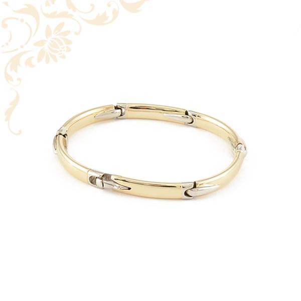 Kétszínű aranyból készült, nagyon mutatós férfi arany karkötő
