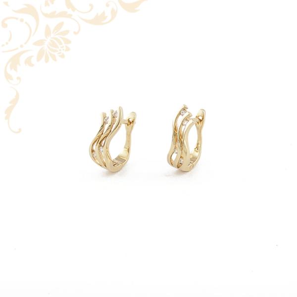 Áttört, cirkónia köves női arany fülbevaló