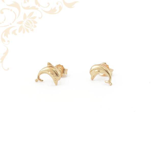Delfint ábrázoló, stekkeres arany fülbevaló