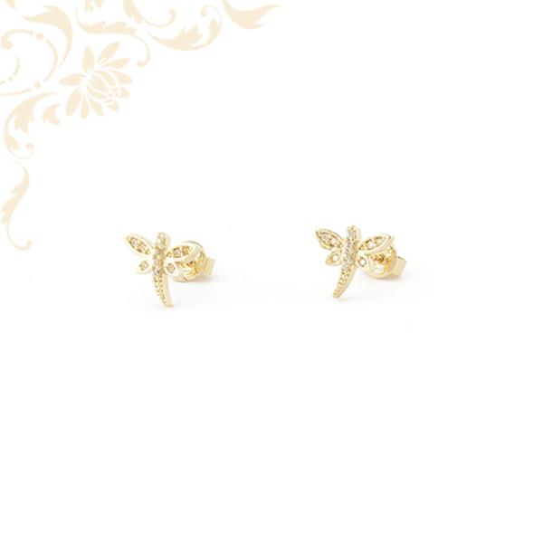 Cirkónia köves arany szitakötő fülbevaló
