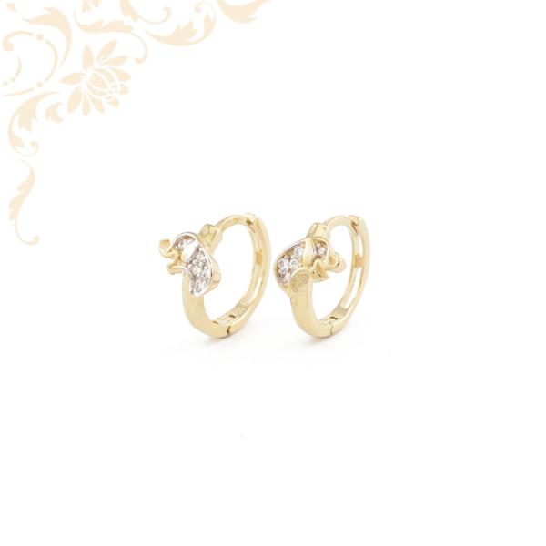 Fehér színű cirkónia kövekkel díszített, elefántos arany karika fülbevaló