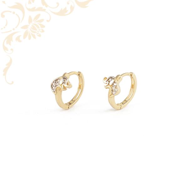 Fehér színű cirkónia kövekkel díszített, elefántos gyermek arany karika fülbevaló.