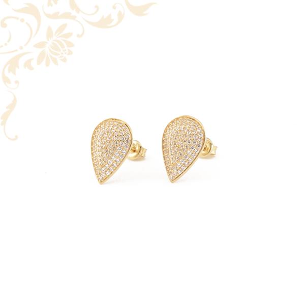 Csepp alakú, fehér színű cirkónia kövekkel díszített, női köves arany fülbevaló