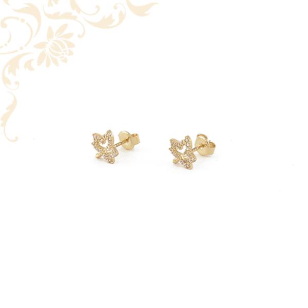 Cikrónia kövekkel ékesített juharlevél formájú arany fülbevaló