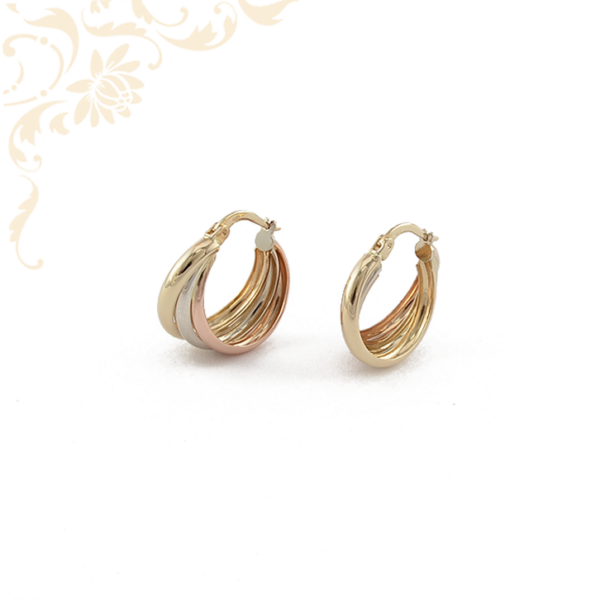 Háromszínű aranyból készült női karika jellegű arany fülbevaló