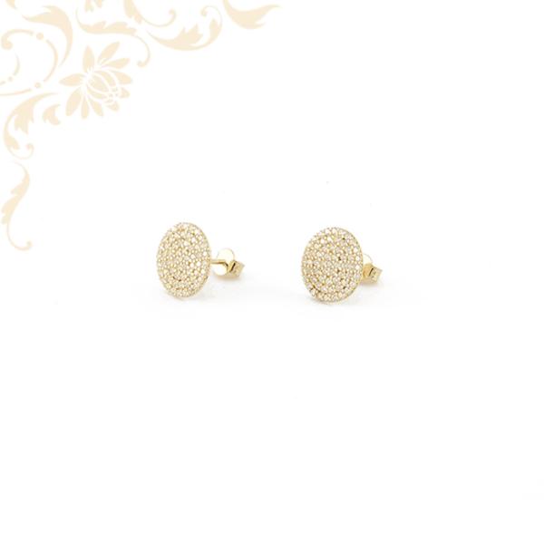 Kör alakú cirkónia köves stekkeres arany fülbevaló.