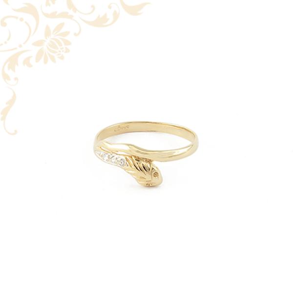 Kígyófejes női köves arany gyűrű.