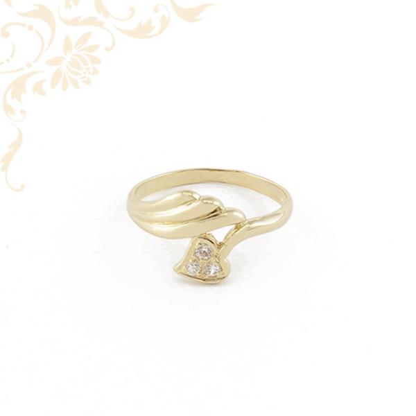 Szívecskés női köves arany gyűrű