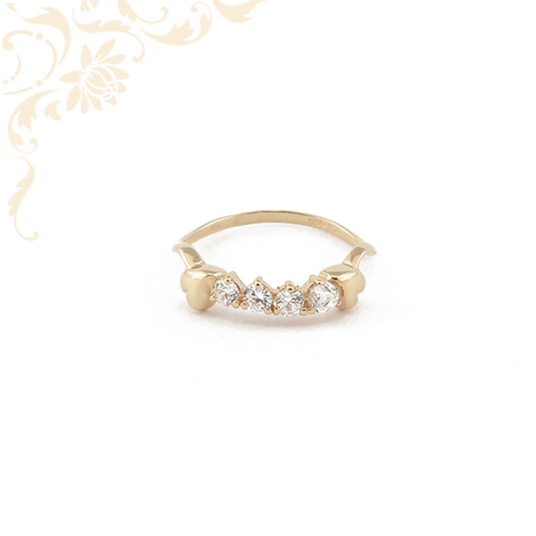 Szívecskés női köves arany gyűrű, fehér színű cirkónia kövekkel ékesítve