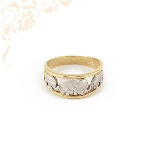 Áttört mintás, elefántos női arany gyűrű, ródium bevonattal díszítve