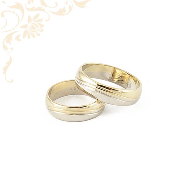 Arany karikagyűrű pár, sárga és fehérarany kombinációjával
