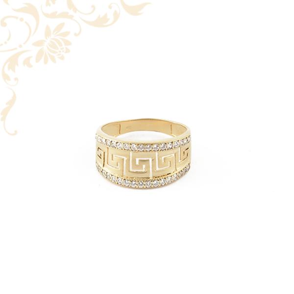 Görög mintás köves arany gyűrű