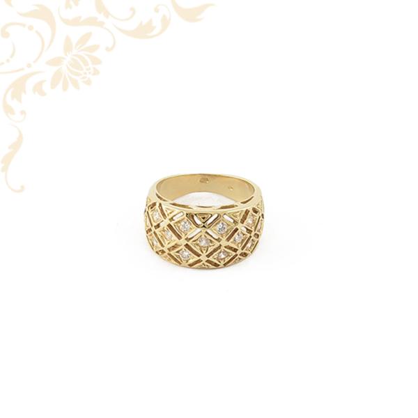 Áttört fejrészű női köves arany gyűrű