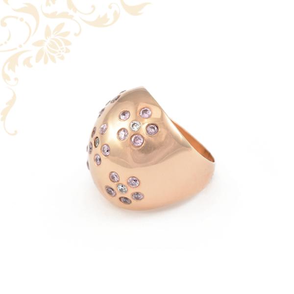 Nagy, rendkívül mutatós, női köves arany gyűrű