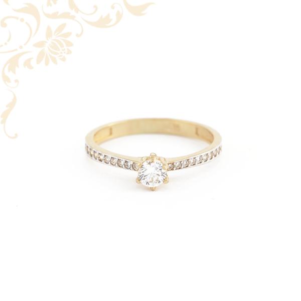 2d5e86be3d Cirkónia köves női arany gyűrű, eljegyzési gyűrű
