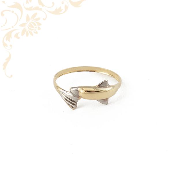 Delfint ábrázoló női arany gyűrű