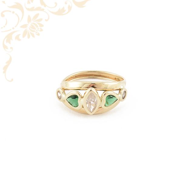 Szép zöld színű szintetikus, fehér színű cirkónia köves női arany gyűrű