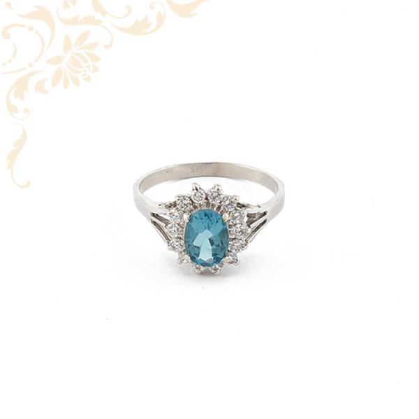 Gyönyörű szép kék kővel ékesített női köves arany gyűrű