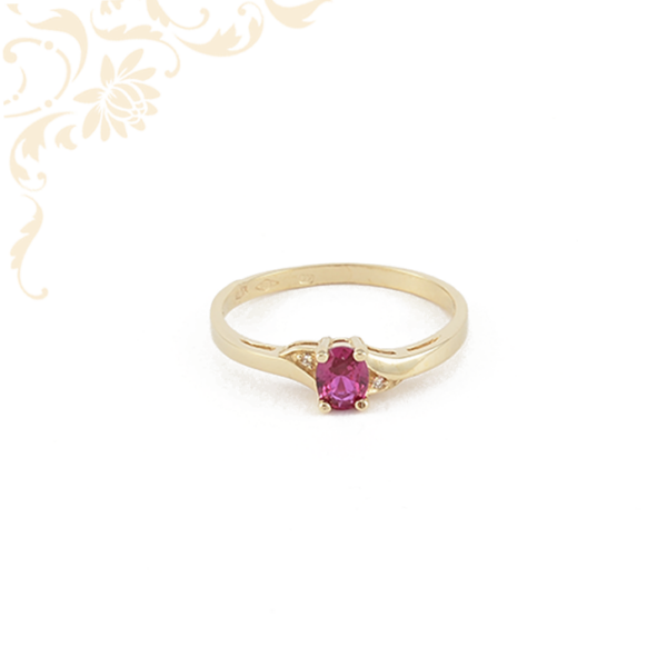 Mályva színű szintetikus kővel díszített, női köves arany gyűrű