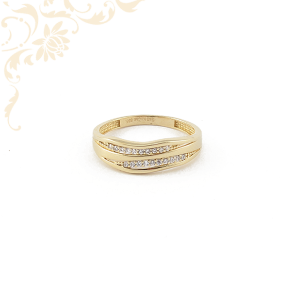 Cirkónia kövekkel ékesített női köves arany gyűrű