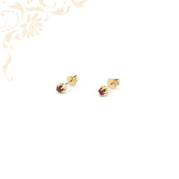 Bordó színű kővel díszített stekkeres arany fülbevaló