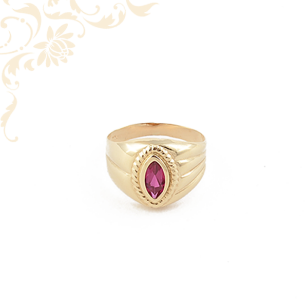 Mályva színű szintetikus kővel díszített női arany gyűrű.