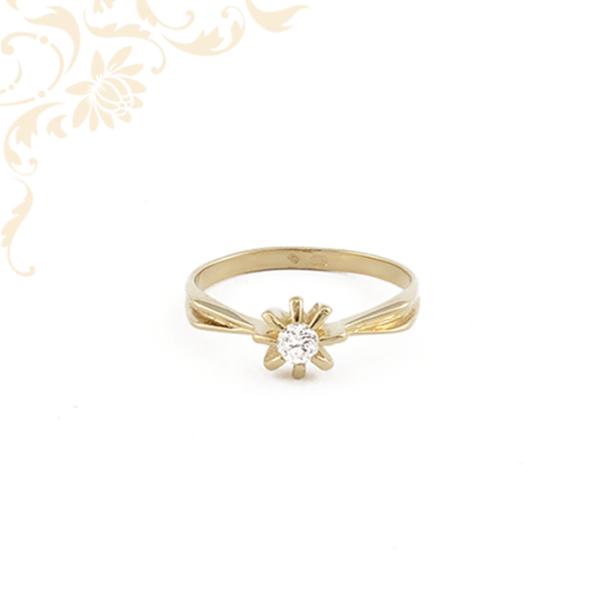 Női cirkónia köves arany gyűrű, eljegyzési gyűrű