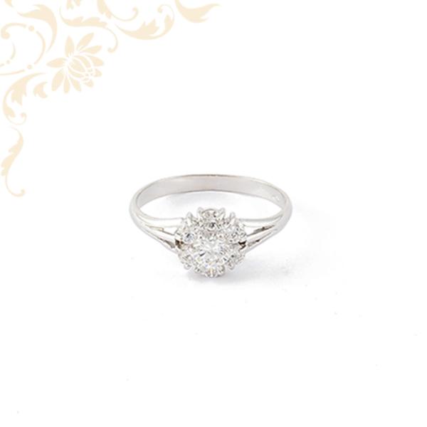 Cirkónia köves fehérarany női gyűrű
