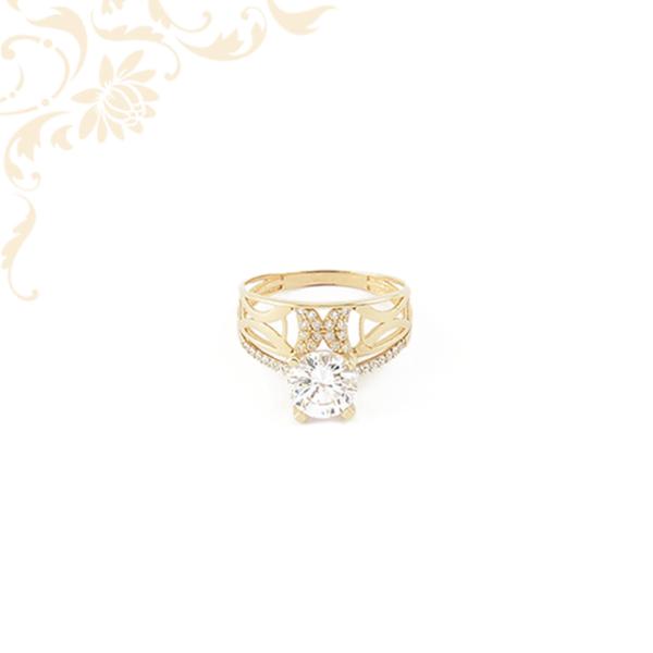 Exkluzív megjelenésű női köves arany gyűrű