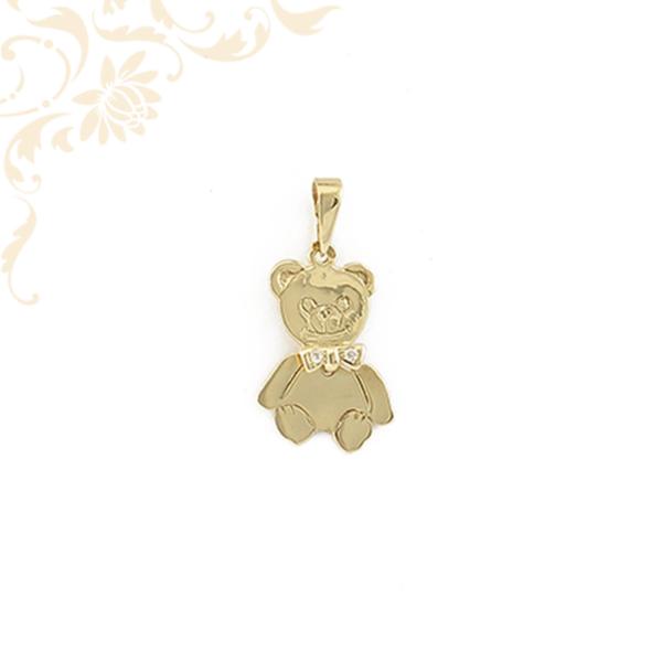 Arany maci lapmedál, cirkónia köves csokornyakkendővel.