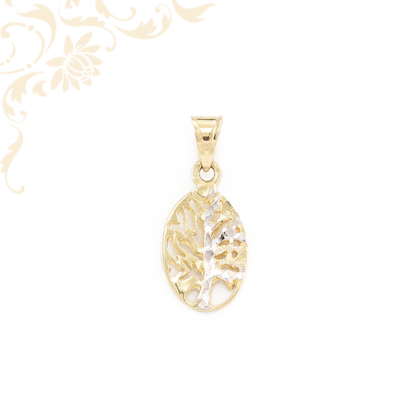 Áttört díszítésű életfa arany medál, ródium bevonattal díszítve