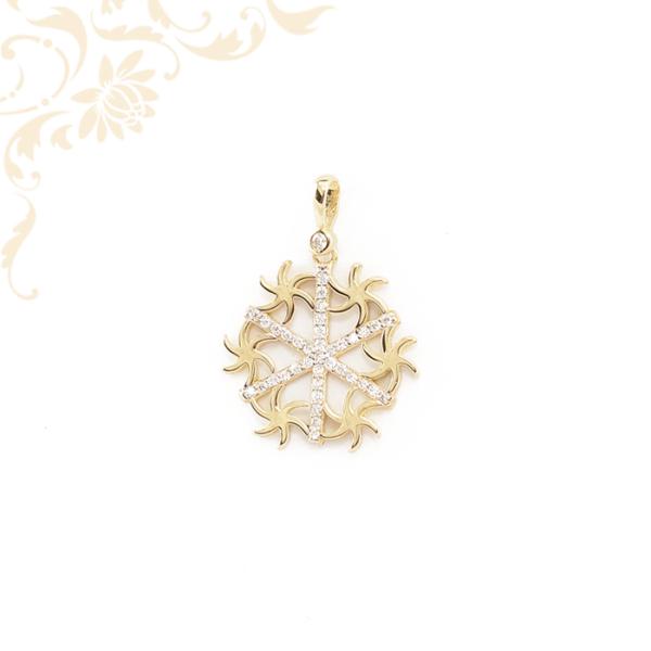 Tengeri csillagokkal és cirkónia kövekkel díszített, női köves arany medál