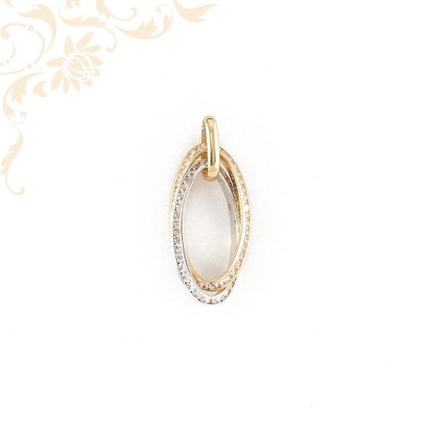 Exkluzív, fehér színű cirkónia kövekkel ékesített, női köves arany medál