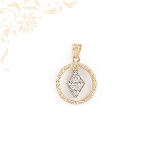 Kör alakú, áttört, fehér színű cirkónia kövekkel ékesített, női köves arany medál.