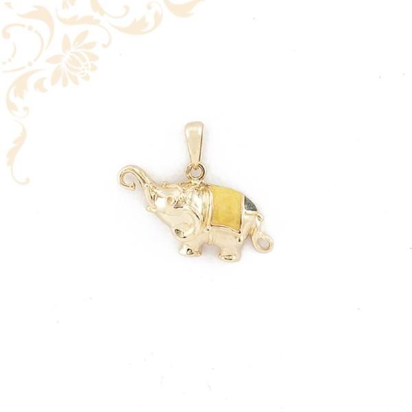 Festett, üreges elefántot ábrázoló arany medál (3D).