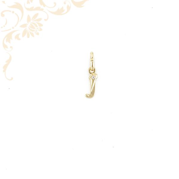 Arany J betű medál cirkónia kővel ékesítve.
