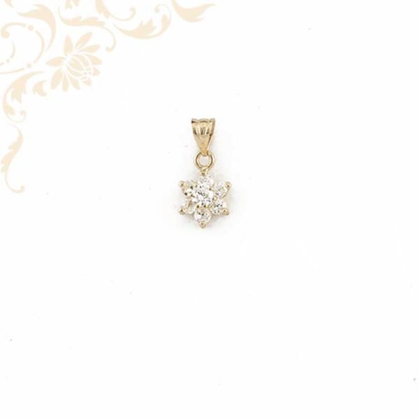 Virágot ábrázoló köves arany medál