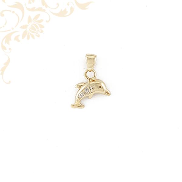 Arany delfin medál cirkónia kövekkel