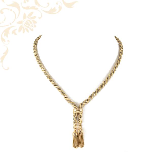 Fehérarany kocka lánccal kombinált, Walles fazonú női arany nyakék